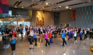 The sanctuary transformed to a Zumba dance floor.